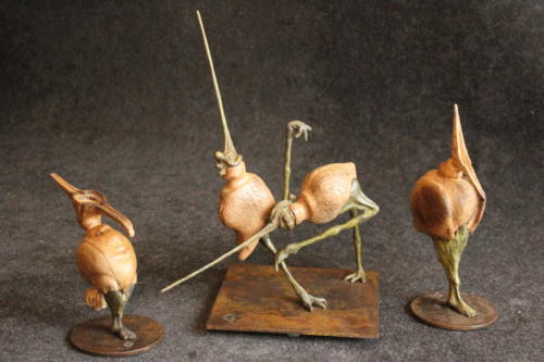 L'oiseau du fleuret (bronze, merisier) / Rabatteur de caquet (chêne, bronze)
